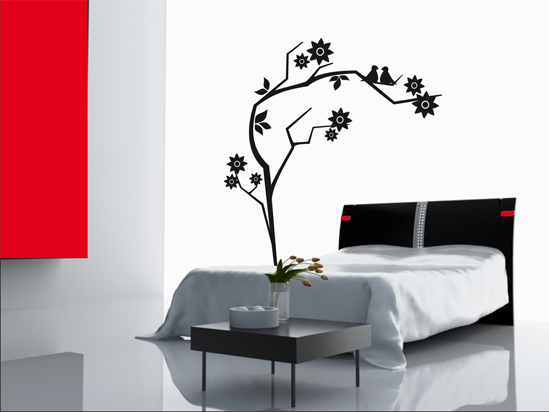 bluetenstrauch mit vogel wandtattoo. Black Bedroom Furniture Sets. Home Design Ideas