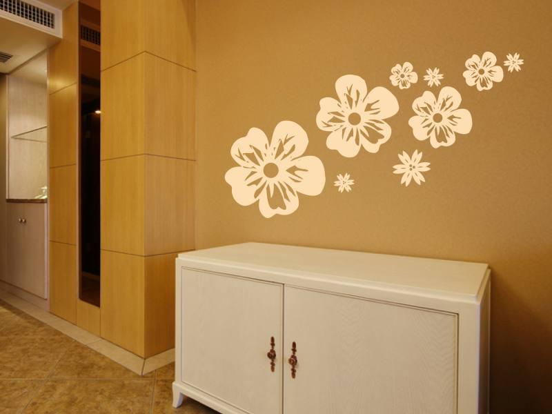 blueten im wind wandtattoo. Black Bedroom Furniture Sets. Home Design Ideas