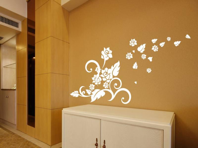 bluetenpflanze im wind wandtattoo. Black Bedroom Furniture Sets. Home Design Ideas