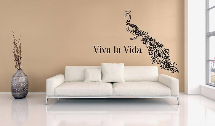 pfau viva la vida wandtattoo. Black Bedroom Furniture Sets. Home Design Ideas